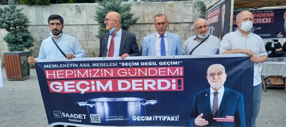"""Saadet Partisi Üsküdar İlçe Başkanlığı'ndan """"GEÇİM İTTİFAKI"""" basın açıklaması"""